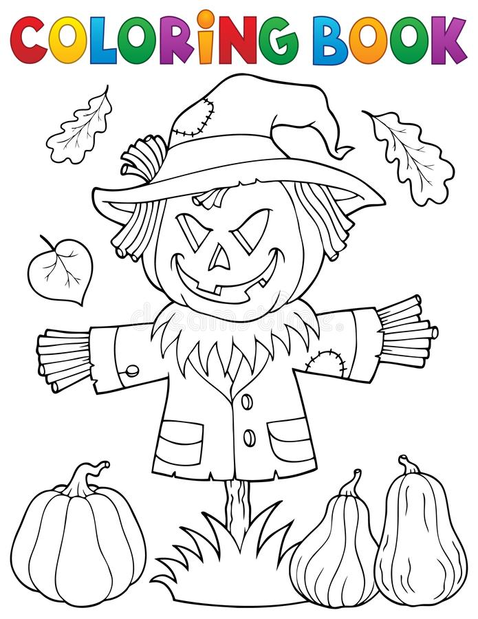 Free Coloring Book Scarecrow Topic 1 Stock Images - 159733564