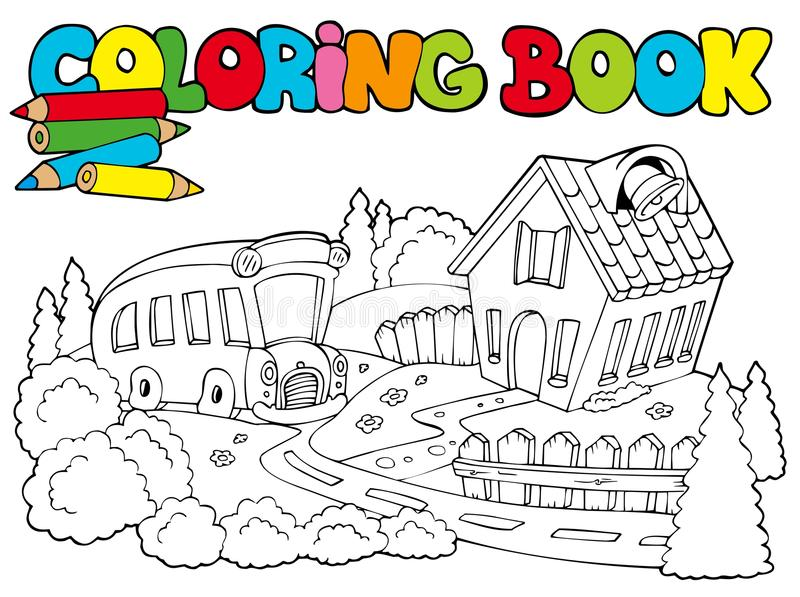Coloring Book With School And Bus Stock Vector - Illustration of ...