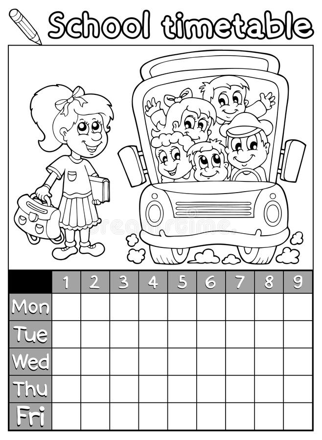 download coloring book school timetable 7 stock vector image 42410032 - Coloring Book Paper Stock