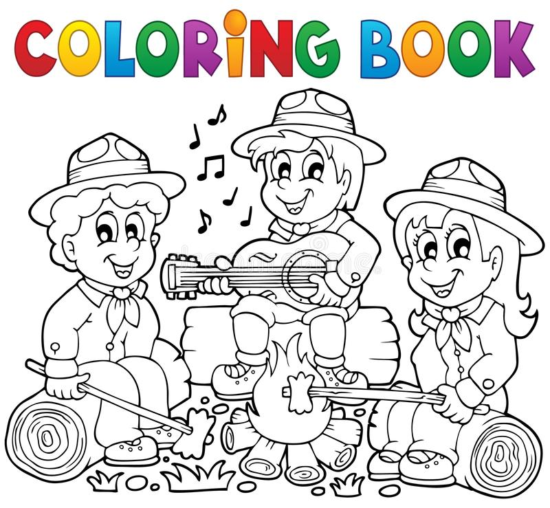 Coloring book scouts theme 1. Eps10 vector illustration stock illustration