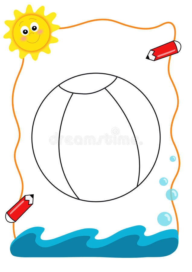 Coloring book sea, the ball stock image