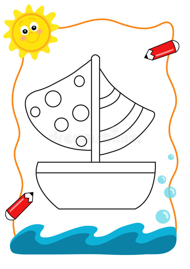 Coloring book sea, the boat stock photo