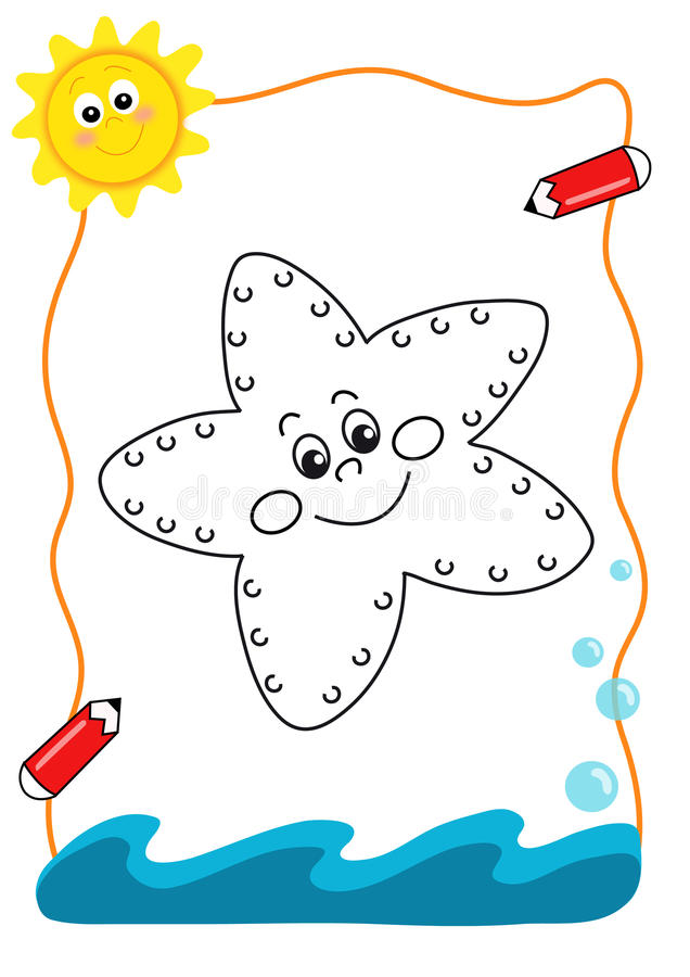 Coloring book sea, the sea star royalty free stock photography