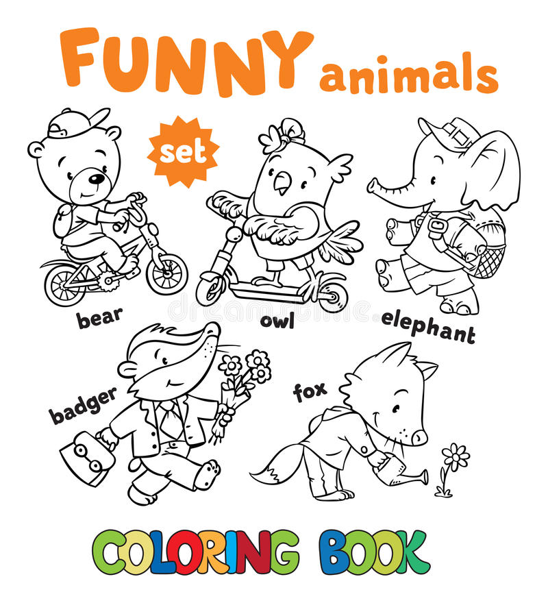 Download Coloring Book Set Of Funny Baby Animals Stock Illustration