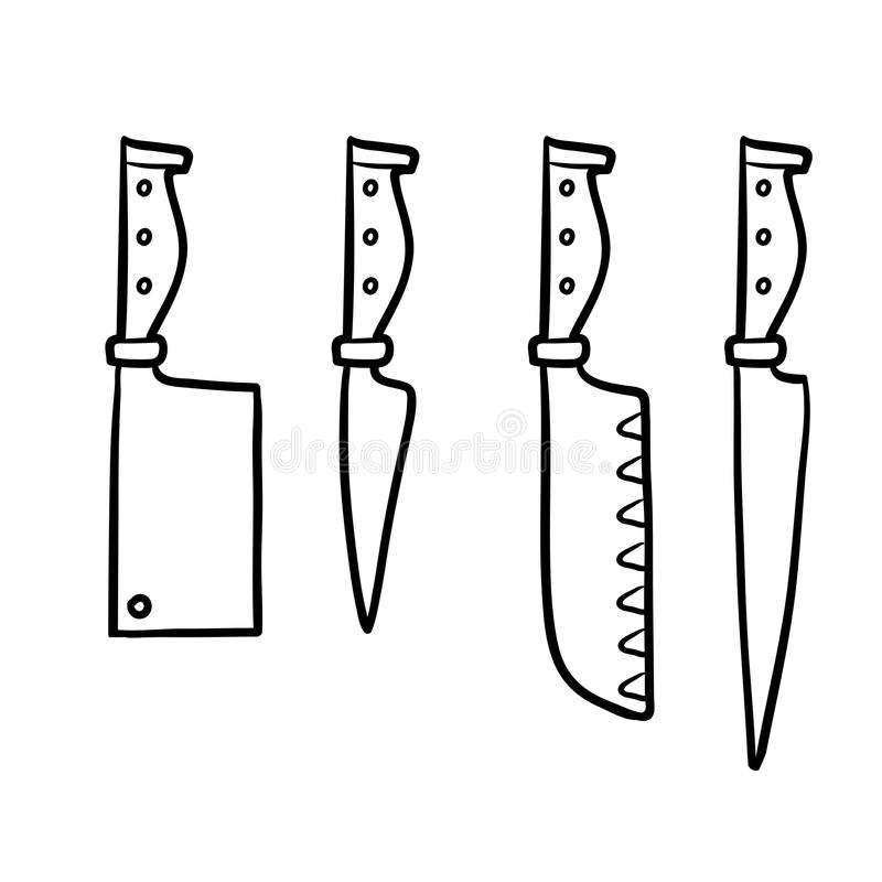 Coloring book, Set of knives royalty free illustration