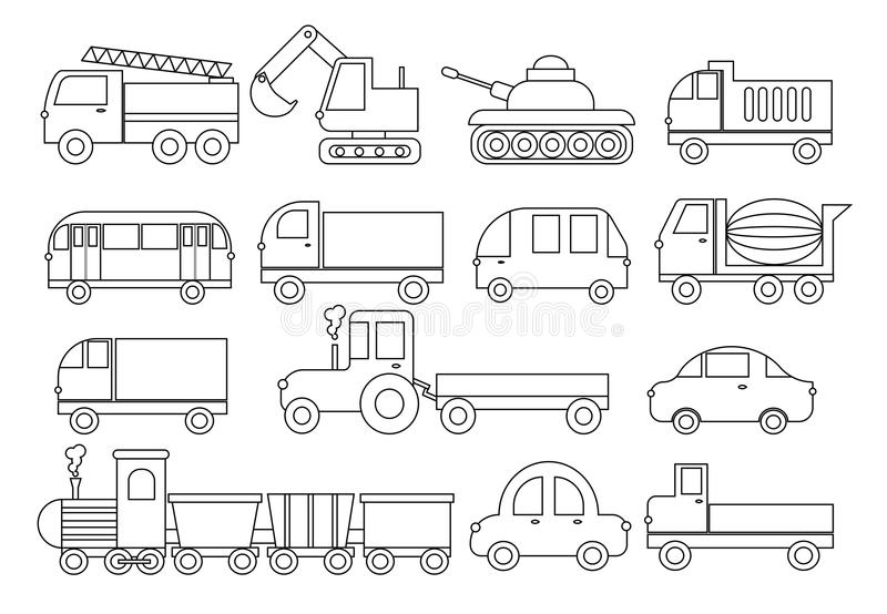 Coloring Book. Set Of Transport. Car, Bus, Train, Fire Truck ...