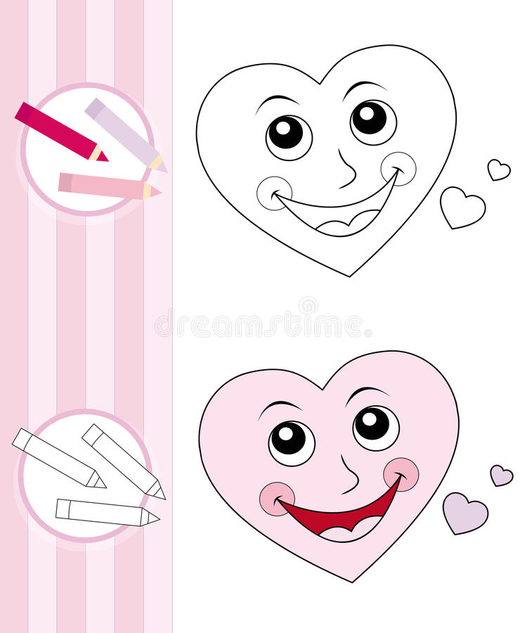 Coloring book sketch: cute heart stock photos