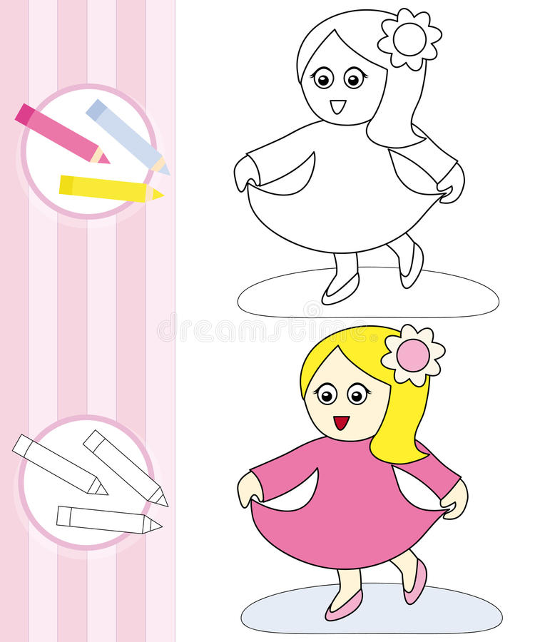 Coloring book sketch: dancing girl royalty free stock photo