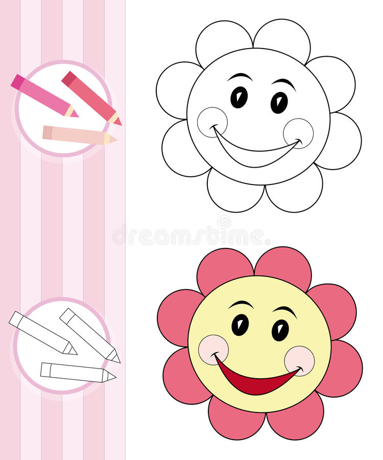 Coloring book sketch: flower stock image