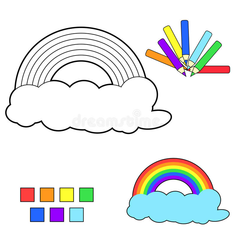 Free Coloring Book Sketch:rainbow Stock Photos - 19017953