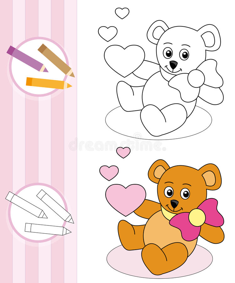 Coloring book sketch: teddy bear royalty free stock images