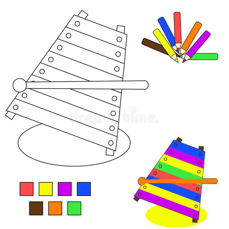 Download Coloring Book Sketch Xylophone Stock Vector