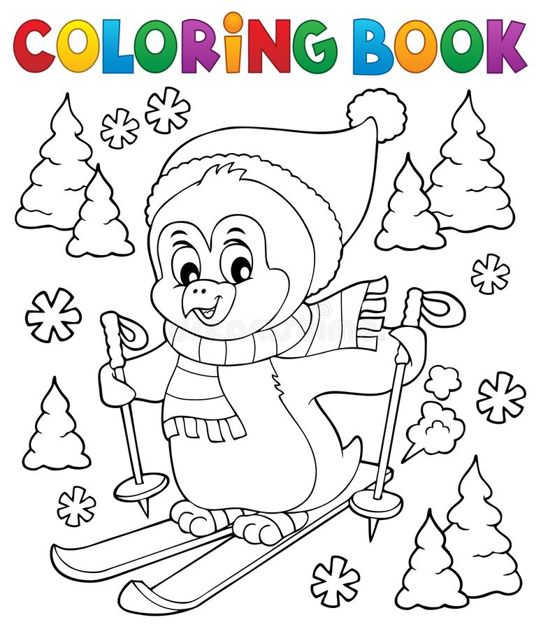 Free Coloring Book Skiing Penguin Theme 1 Royalty Free Stock Image - 132936816