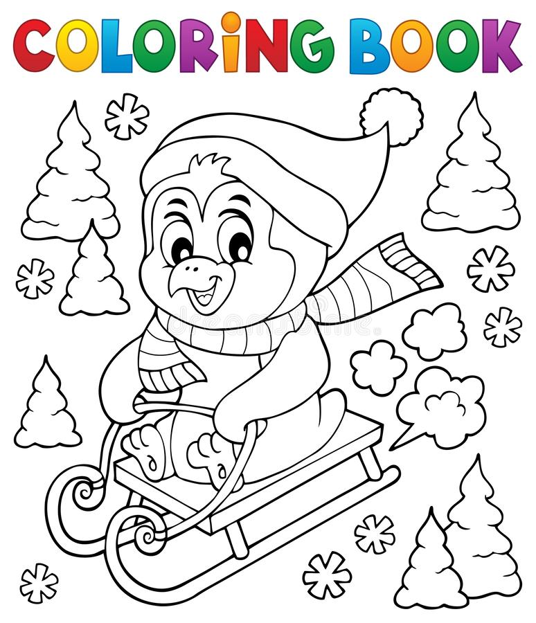 Free Coloring Book Sledging Penguin Theme 1 Stock Photo - 134101720