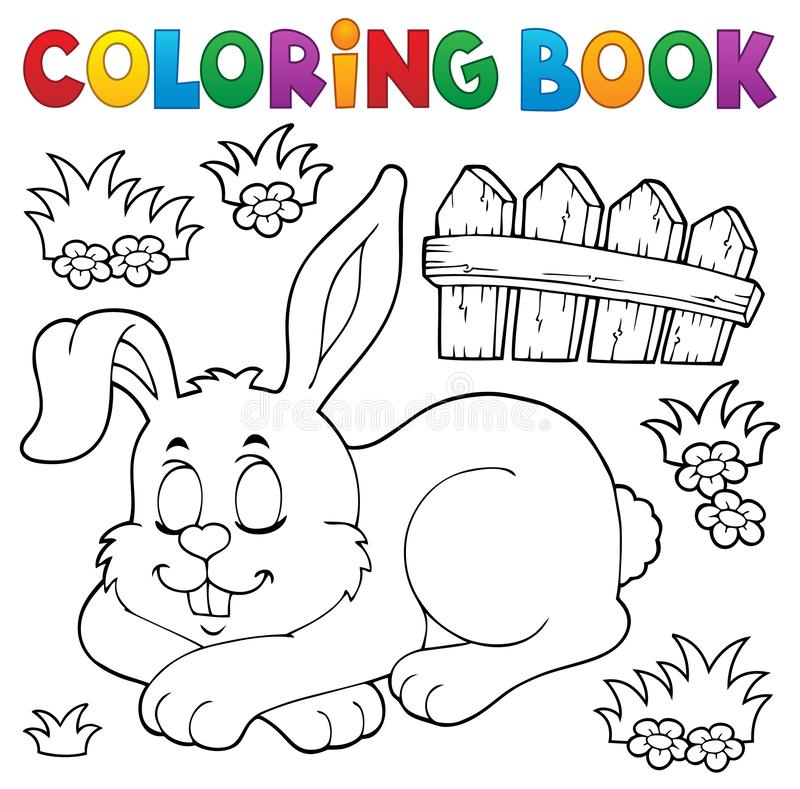 Free Coloring Book Sleeping Bunny Theme 1 Royalty Free Stock Images - 138542009