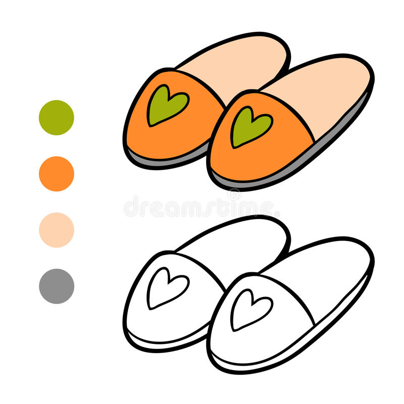 Free Coloring Book, Slippers Stock Photos - 95491773