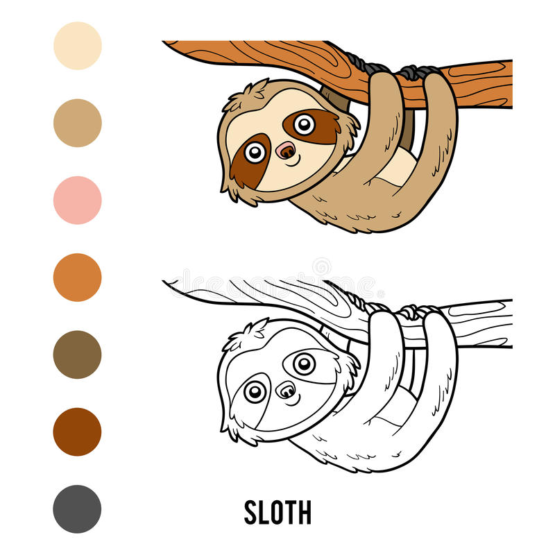 Coloring book, Sloth. Coloring book for children, Sloth royalty free illustration