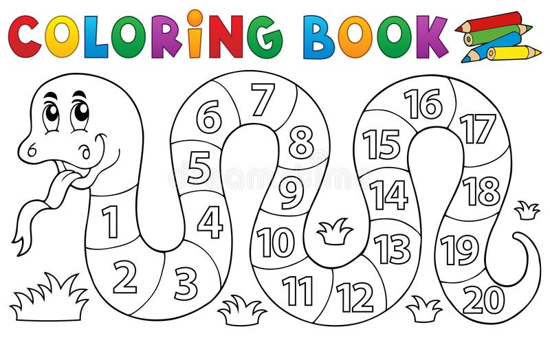 Coloring book snake with numbers theme stock illustration