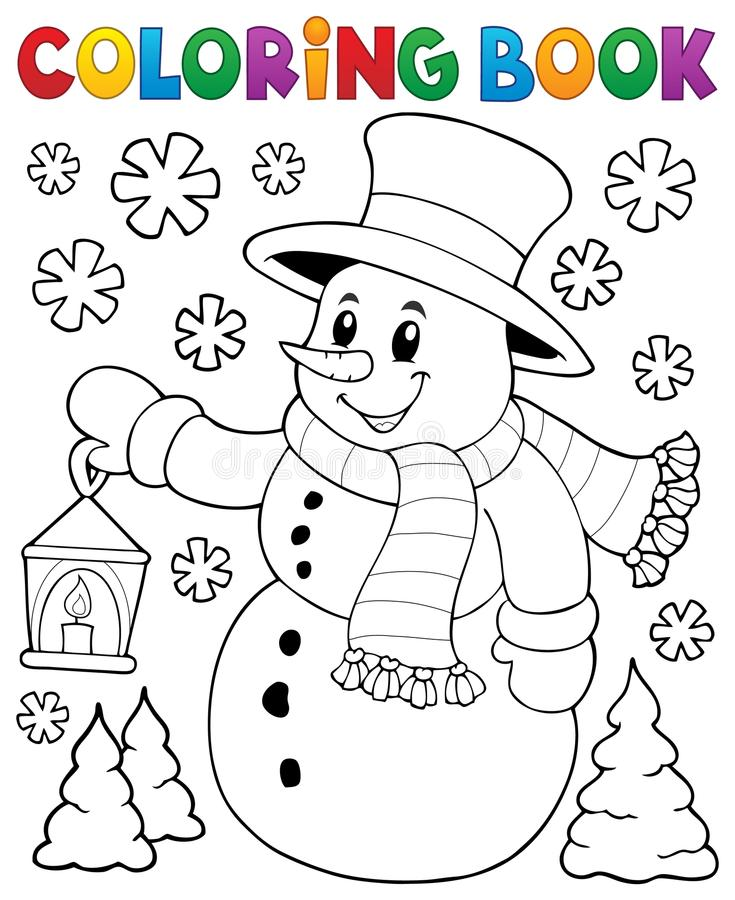 Free Coloring Book Snowman Topic 2 Royalty Free Stock Photography - 78661757