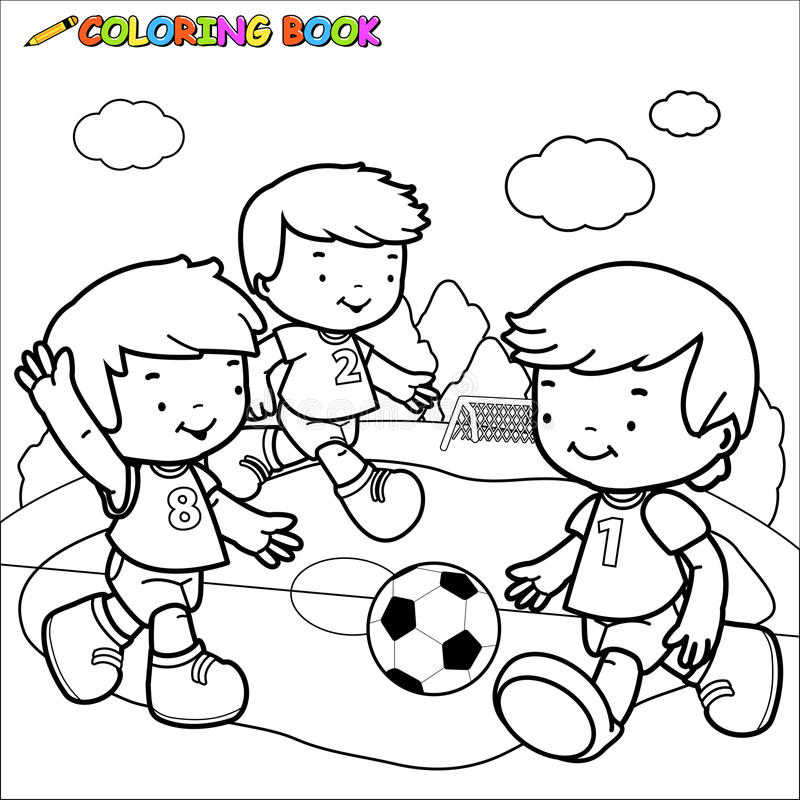 download coloring book soccer kids stock vector image of outlined 45548217
