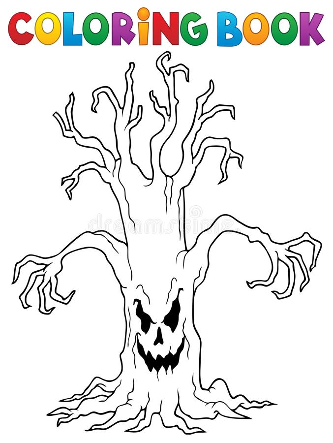 Free Coloring Book Spooky Tree Thematics 1 Royalty Free Stock Photos - 156918678