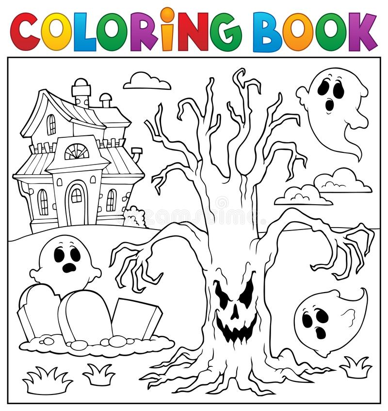 Free Coloring Book Spooky Tree Thematics 2 Stock Photos - 156918703