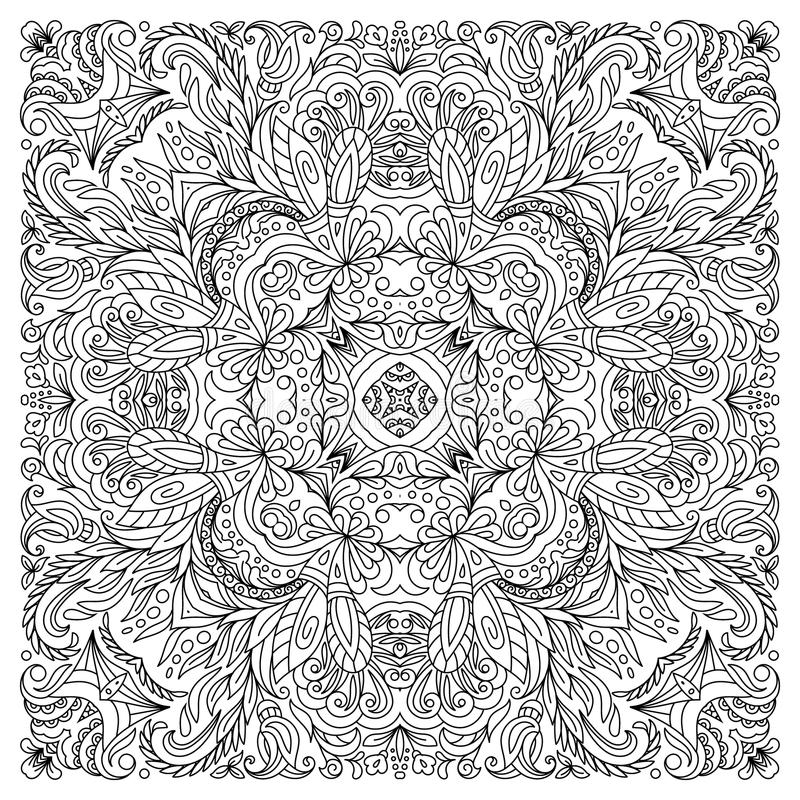 Coloring Book Square Page For Adults - Floral Authentic Carpet ...