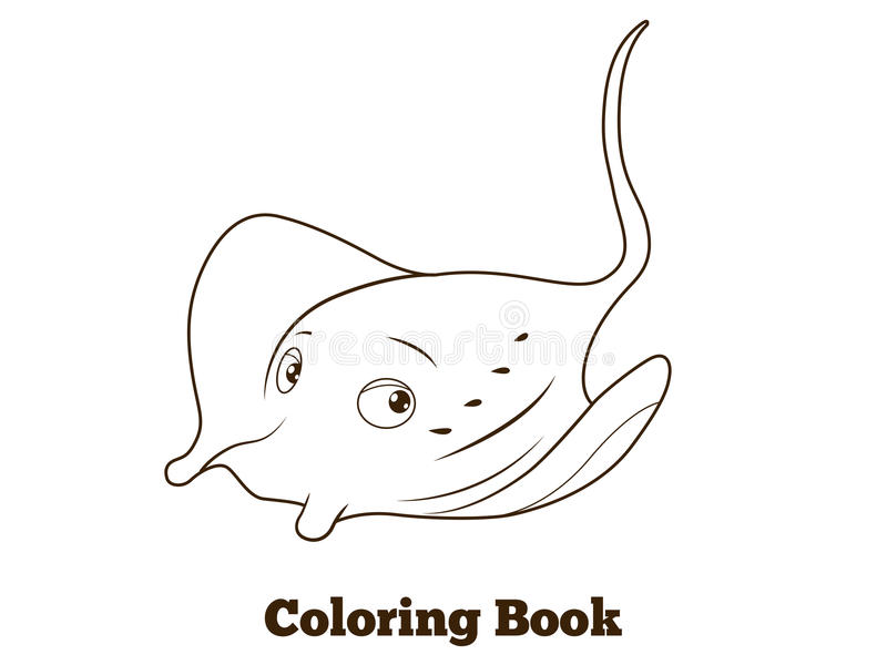 coloring book stingray cartoon educational stock vector image 61032505