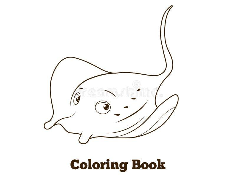 Coloring book stingray cartoon educational. Vector illustration stock illustration