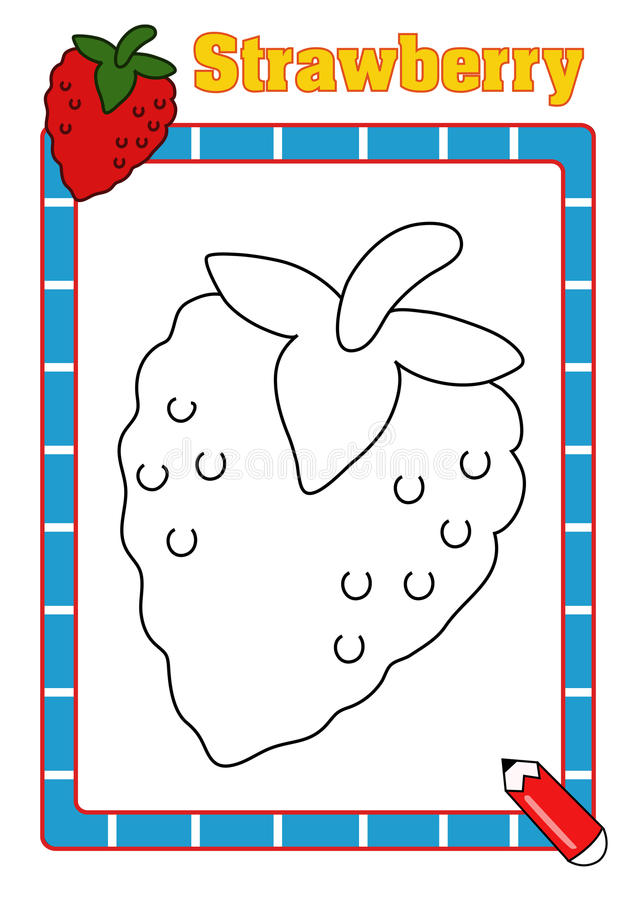 Coloring book, strawberry stock photo