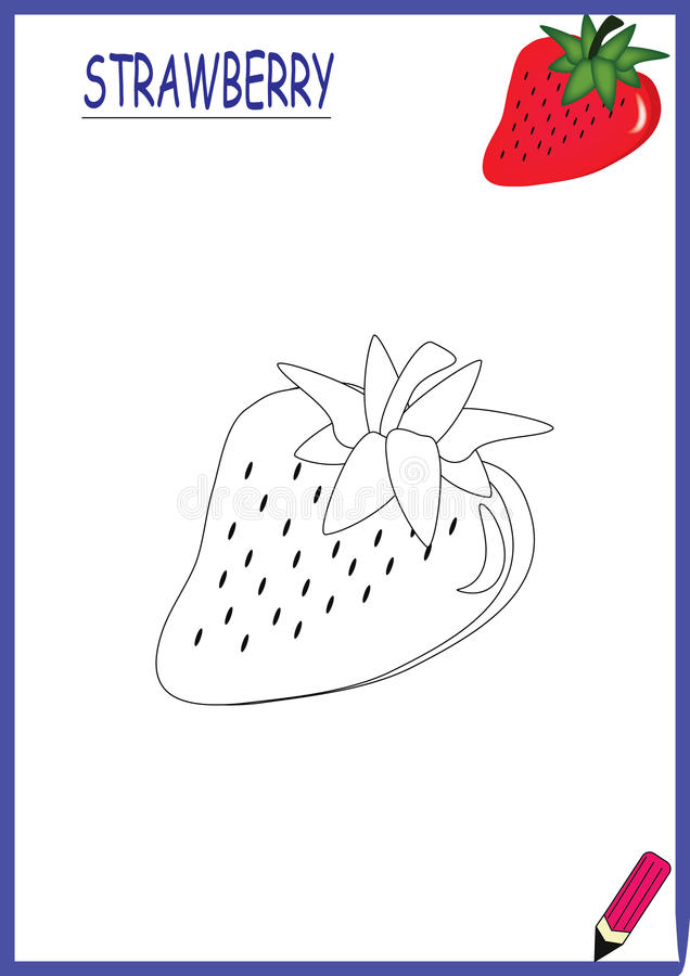 Coloring book-strawberry royalty free stock photo