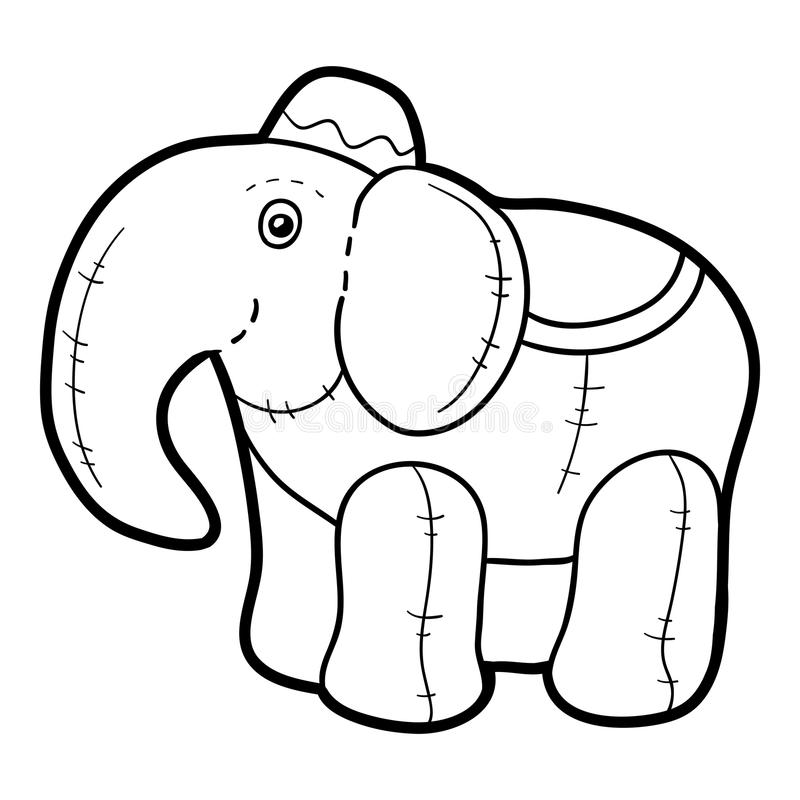 Coloring book, Stuffed toy Elephant. Coloring book for children, Stuffed toy Elephant vector illustration