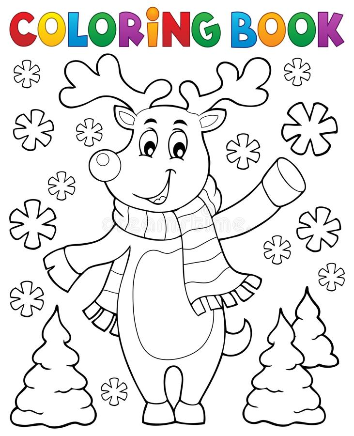 Coloring book stylized Christmas deer. Eps10 vector illustration vector illustration