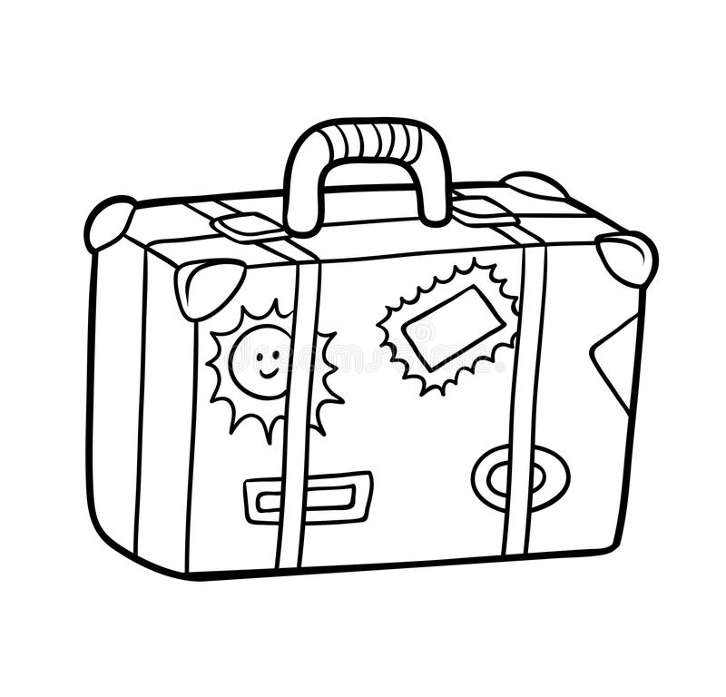 coloring book suitcase with stickers stock vector