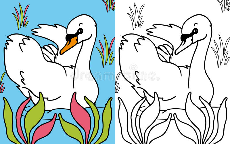 Coloring book swan royalty free illustration