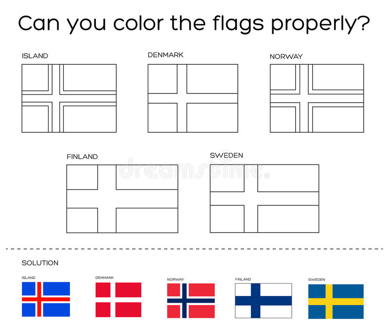 Coloring Book Task Scandinavian Flags With Solution Stock Vector Illustration Of Book Scandinavia 67391507