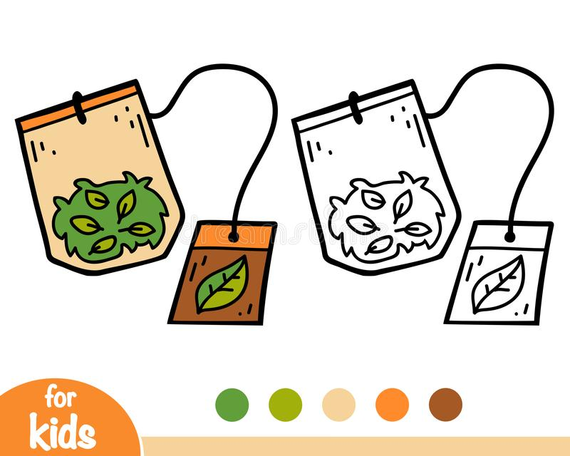 Coloring book, Tea bag royalty free illustration
