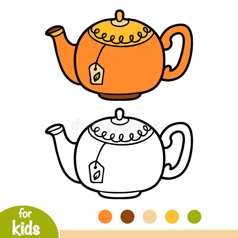 Coloring book, Teapot. Coloring book for children, Teapot royalty free illustration