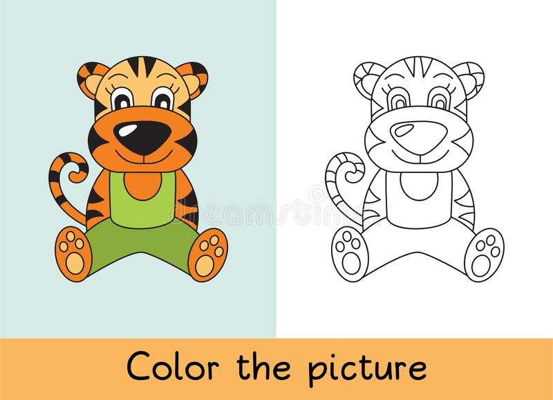 Coloring book. Tiger. Cartoon animall. Kids game. Color picture. Learning by playing. Task for children.  stock illustration