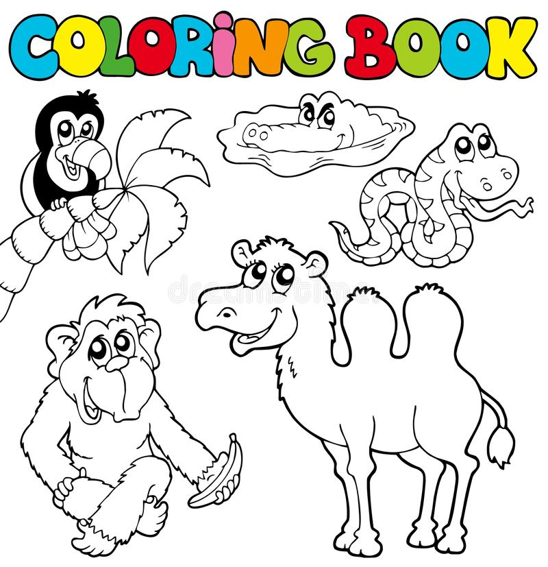 Coloring Book With Tropic Animals 3 Stock Vector - Illustration ...