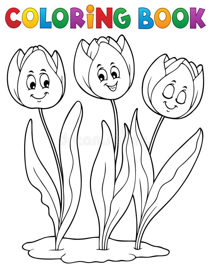 Free Coloring Book Tulip Flower Image 1 Stock Images - 178673664