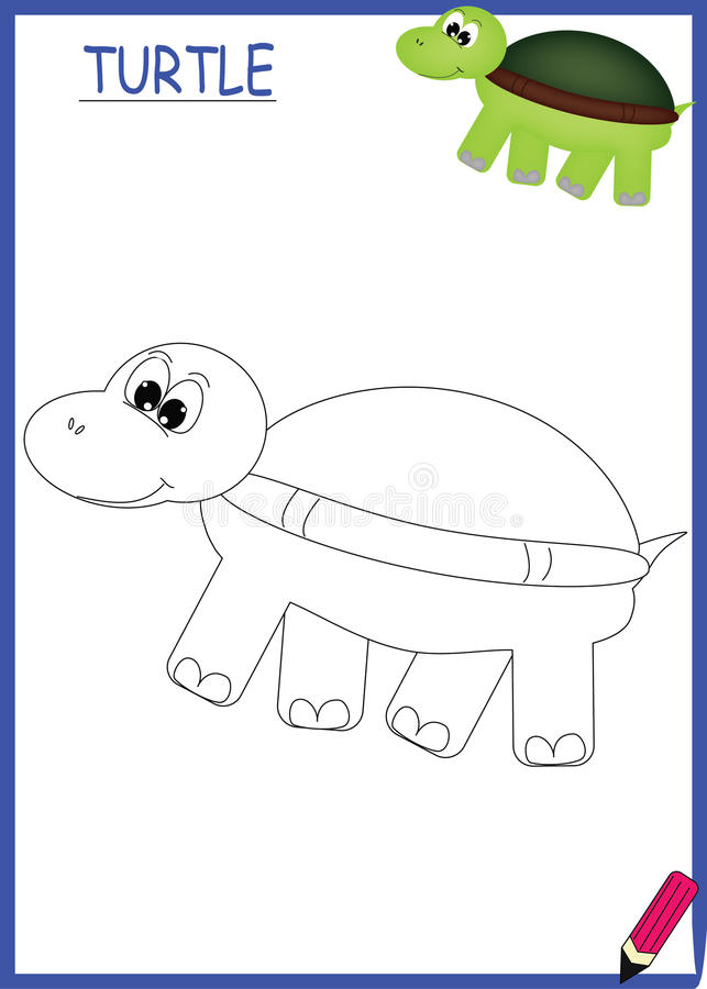 Coloring book turtle royalty free stock image