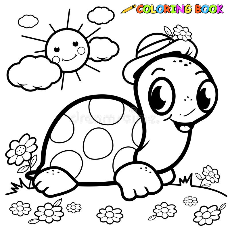 Coloring Book Turtle In Grass Stock Vector - Illustration of cartoon ...