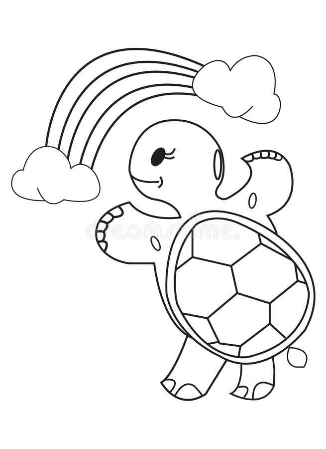 Download Coloring Book Turtle Rainbow And Clouds Stock Illustration