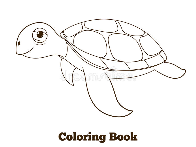 Download coloring book turtle sea animal illustration stock vector illustration of ocean tortoise