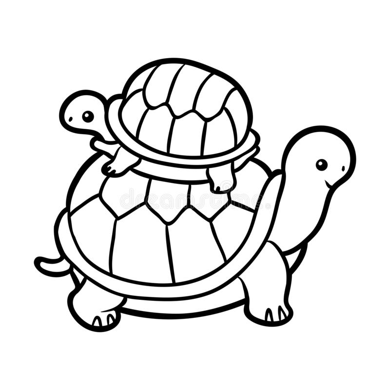 Coloring book, Two tortoises vector illustration