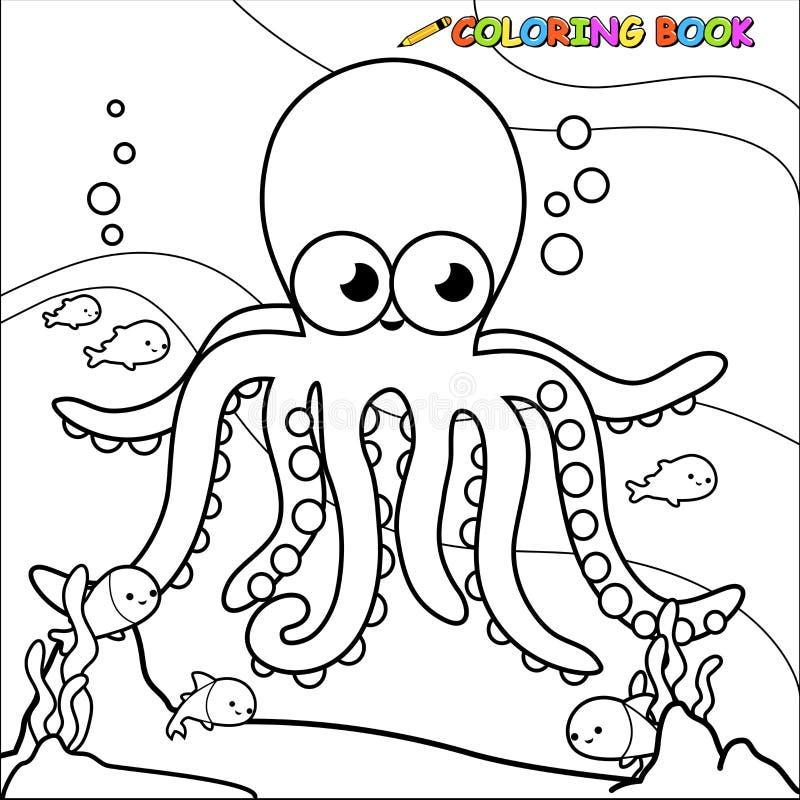 coloring book underwater octopus stock vector