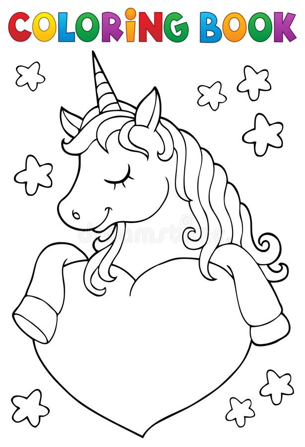Free Coloring Book Unicorn And Heart 1 Royalty Free Stock Photo - 181611435