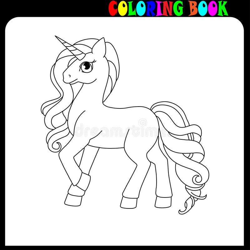 Coloring Book Unicorne, Horse Or Pony Theme. Stock Vector ...