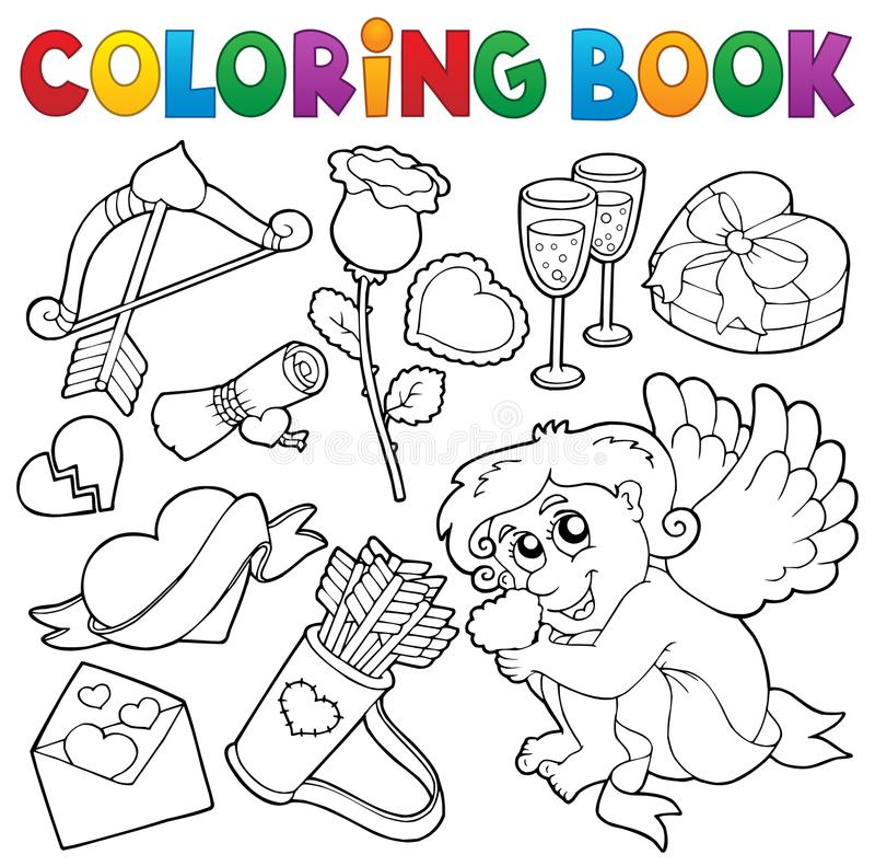 Free Coloring Book Valentine Theme 5 Royalty Free Stock Images - 83471629